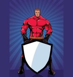 Superhero holding shield ray light vertical vector