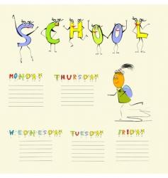 Template for school schedule vector