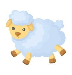 Toy sheep icon in cartoon style isolated on white vector