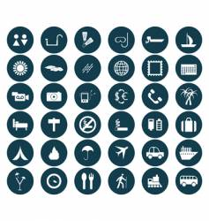 travel icons set vector image