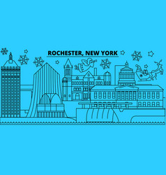united states rochester winter holidays skyline vector image