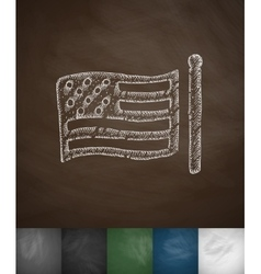 Us flag icon hand drawn vector