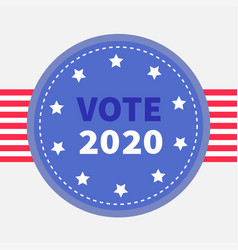 vote 2020 blue badge with striped ribbon award vector image