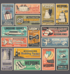 Wedding and marriage ceremony posters vector