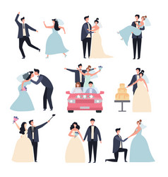 Wedding couples bride ceremony celebration wed vector