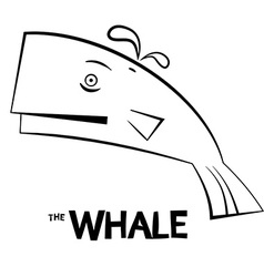 Whale - Outline Fish Isolated on White Background vector