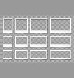 white empty photo frames templates for photo vector image