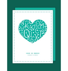 White on green alphabet letters heart symbol frame vector