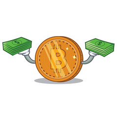 with money bitcoin coin character cartoon vector image