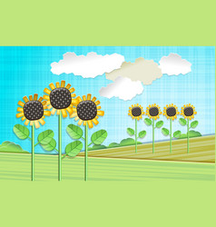 With sunflowers vector