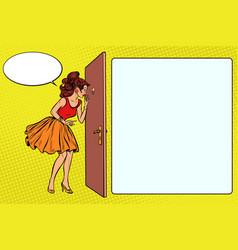woman peeking through the peephole vector image