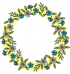 wreath of wild flowers vector image
