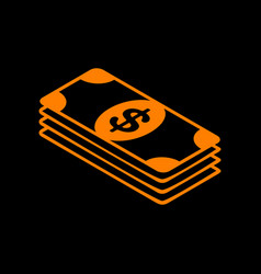 bank note dollar sign orange icon on black vector image