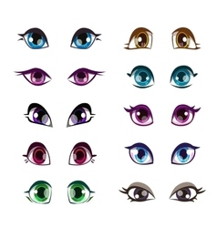 Cartoon girls eyes set vector image