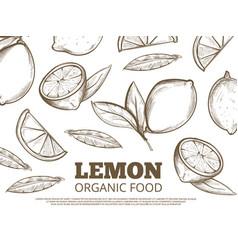 organic food poster with hand drawn lemons vector image