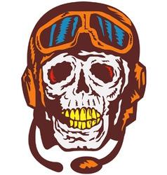 Skull Face Pilot Airman vector image