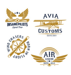 aviation and airplane retro styled icons vector image vector image