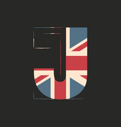 Capital 3d letter j with uk flag texture isolated vector