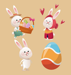 collection bunny easter egg vector image