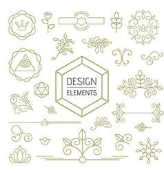 Design element set mono line art ornamental nature vector