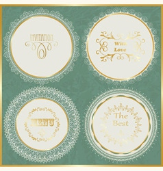 lacy napkins with golden frame vector image vector image