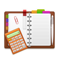 realistic organizer notebook color stickers and vector image