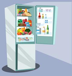 refrigerator full of tasty food vector image
