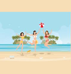 three bikini woman jumping with ball on beautiful vector image