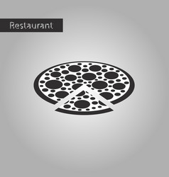 Black and white style icon pizza vector