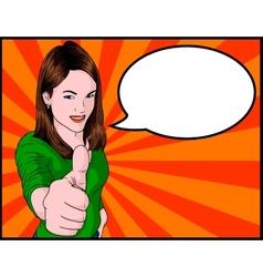 Girl Giving Thumbs Up vector image