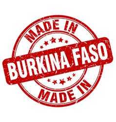 made in burkina faso red grunge round stamp vector image vector image
