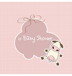 new baby announcement card with cow vector image