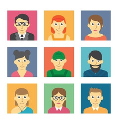 Set of cute character icons vector image vector image