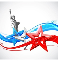 Statue of Liberty with American Flag vector image
