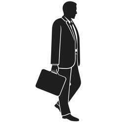 Businessman walking with his briefcase vector image
