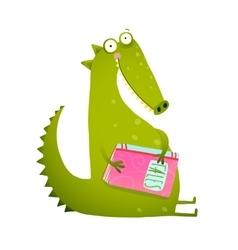 Dragon or dinosaur cartoon reading book vector image