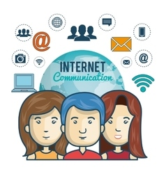 internet connection globe persons web graphic vector image vector image
