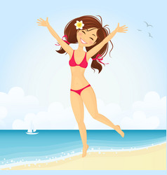 Jumping beach girl vector image vector image