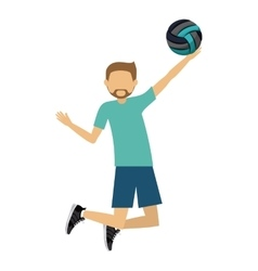 male athlete practicing volleyball isolated icon vector image