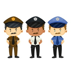Policeman in three different uniforms vector image vector image