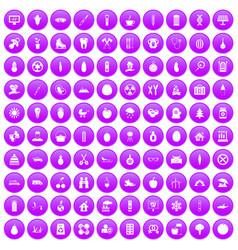 100 child health icons set purple vector