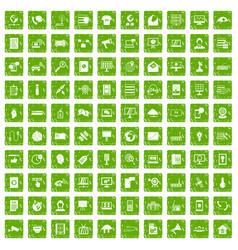 100 telecommunication icons set grunge green vector
