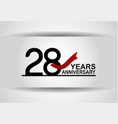 28 years anniversary design with red ribbon vector