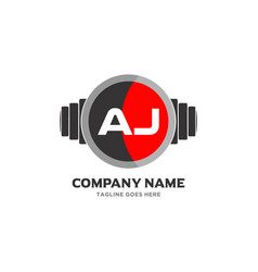 Aj letter logo design icon fitness and music vector
