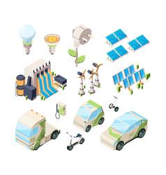 alternative energy set solar panels green vector image