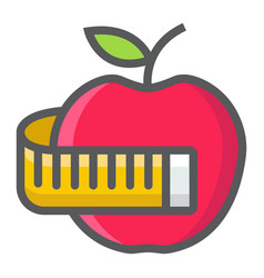apple with measuring tape filled outline icon vector image