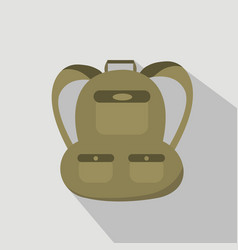 backpack isolated on grey background flat style vector image