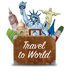 bag with travel destinations-famous places vector image