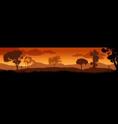 beautiful sunset in savanna landscape vector image