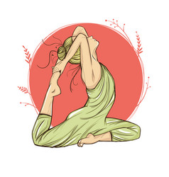 beautiful woman in yoga pose on a round background vector image